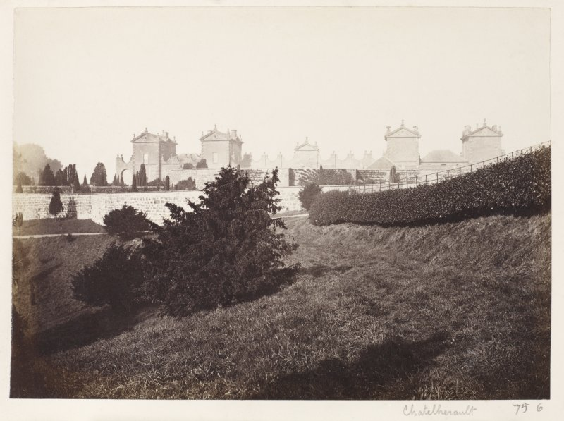 Page 11/1.  View of Chatelherault from South. Titled 'Chatelherault.' PHOTOGRAPH ALBUM 146: THE ANNAN ALBUM.