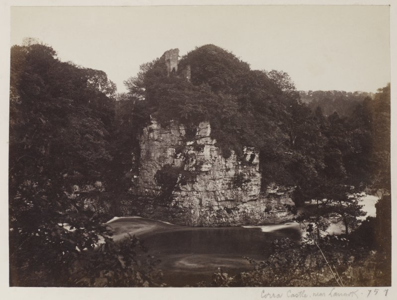 General view of Castle ruins. Titled ' Corra Castle near Lanark.' PHOTOGRAPH ALBUM 146: THE ANNAN ALBUM