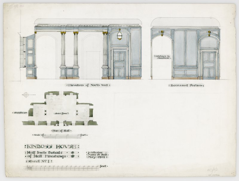 "Kinross House, interior. Drawing of hall, elevation of North wall and recessed portion. Insc: ""Kinross House. Half Inch Details of Hall Finishings. Sheet No 1."""