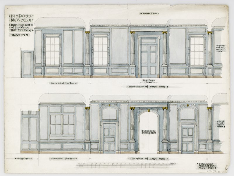 "Kinross House, interior. Elevations of East and West walls and recessed portions. Insc: ""Kinross House. Half Inch Details of Entrance Hall Finishings. Sheet No 2."""