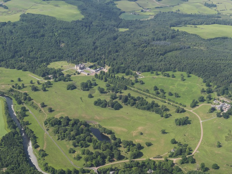 General oblique aerial view of Drumlanrig castle and policies, taken from the ENE.