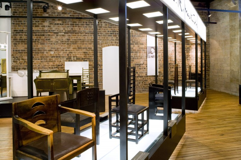 View of Mackintosh furniture exhibition area in basement of school.