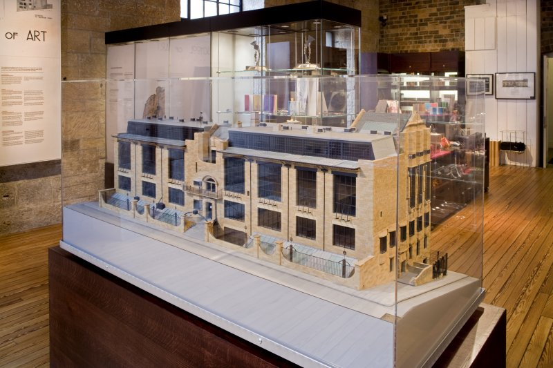 View of building model within exhibition, in basement area of school.