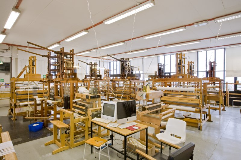 View of weaving looms in Textiles studio within Newbery Tower