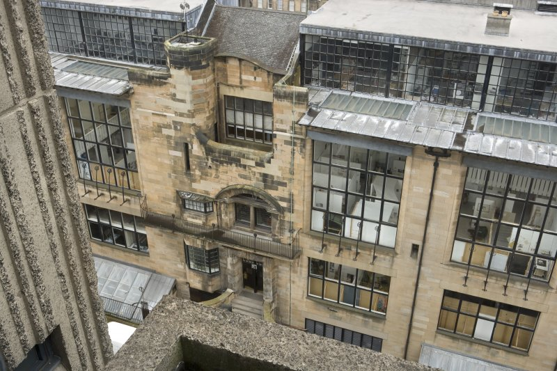 View looking down onto the central bays of the Mackintosh building from the upper levels of the Newbery Tower.