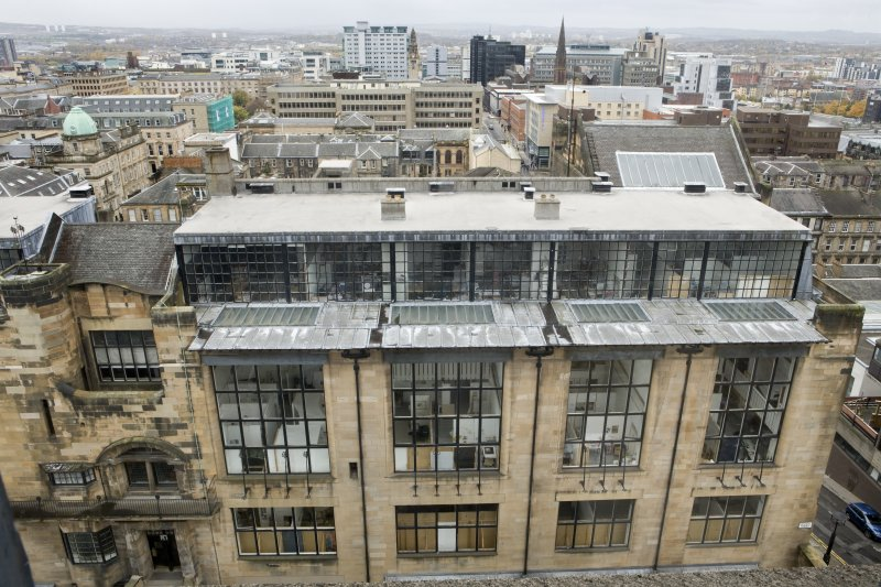 View looking down across the roofscape of the Mackintosh building from the upper levels of Newbery Tower