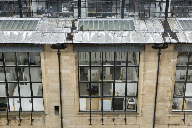 Detail view of north-facing studio windows of Mackintosh building, taken from the upper levels of Newbery Tower