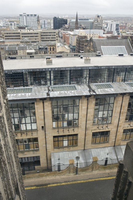 View looking down onto north elevation of Mackintosh building from the upper levels of Newbery Tower