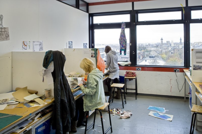 View of students within the textiles department working spaces within Newbery Tower