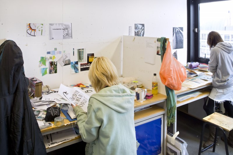 View of students working within the textiles department studio spaces within Newbery Tower