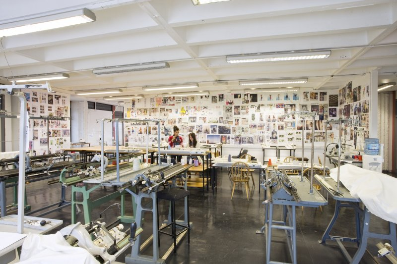 View of studio space and knitting machines within textiles department of Newbery Tower