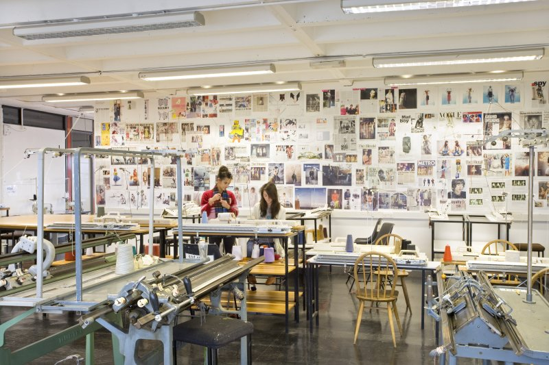 View of studio space and knitting machines of textiles department within Newbery Tower