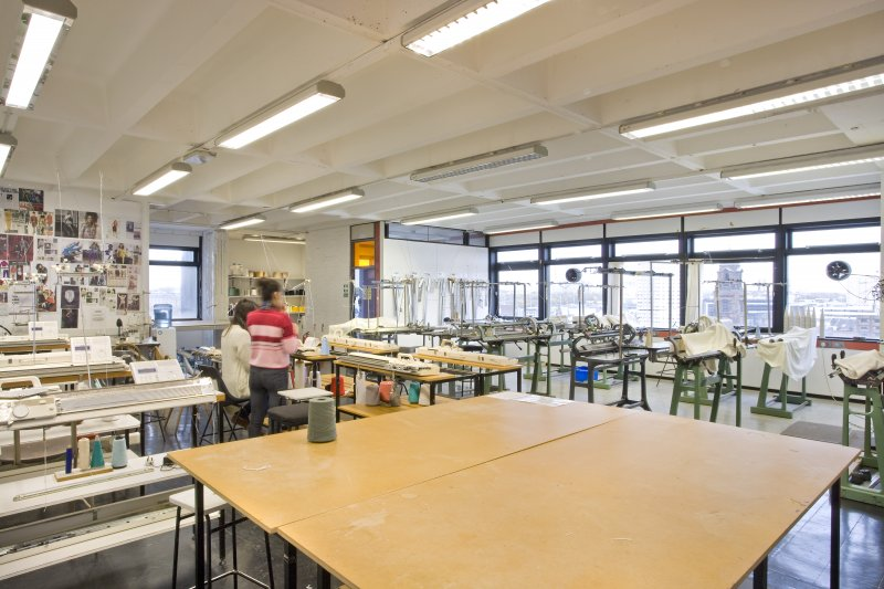 View of studio space of textiles department within Newbery Tower