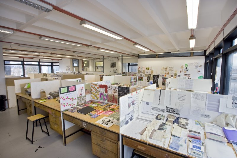 View of student work spaces within textiles department of Newbery Tower