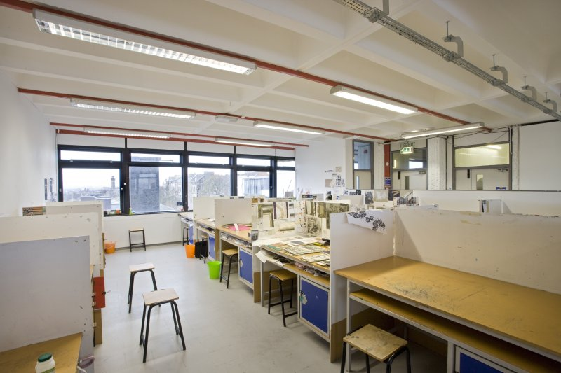 View of student work spaces within textiles department of Newbery Tower (different floor)