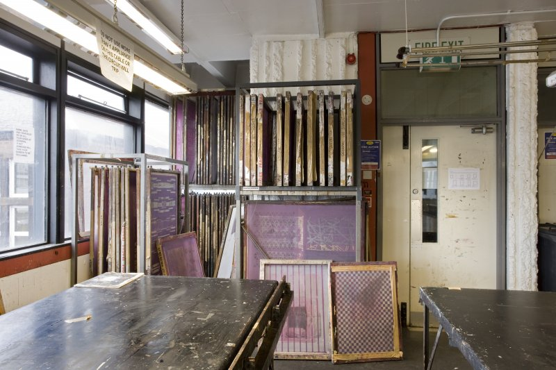 View of frame racks within printmaking studio of Newbery Tower