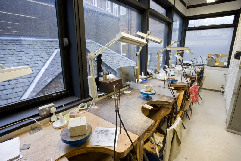 View of studio workbenches in the jewellery and silversmithing department within Newbery Tower