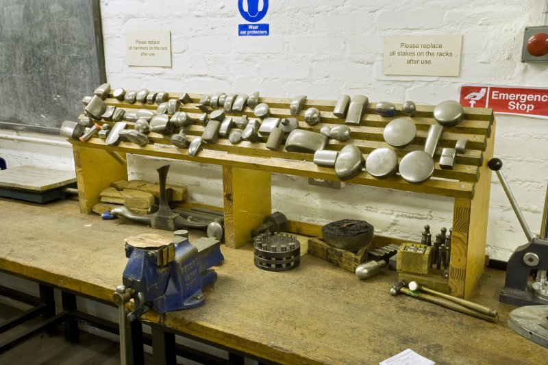 Detail of workbench and tools in workshop of jewellery and silversmithing department within Newbery Tower