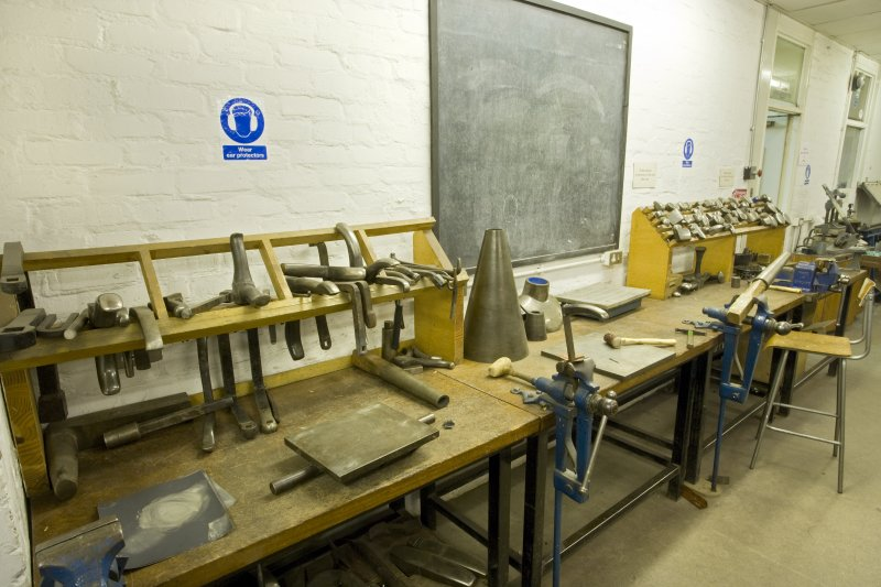 View of workbenches and tools in workshop of jewellery and silversmithing workshop of Newbery Tower