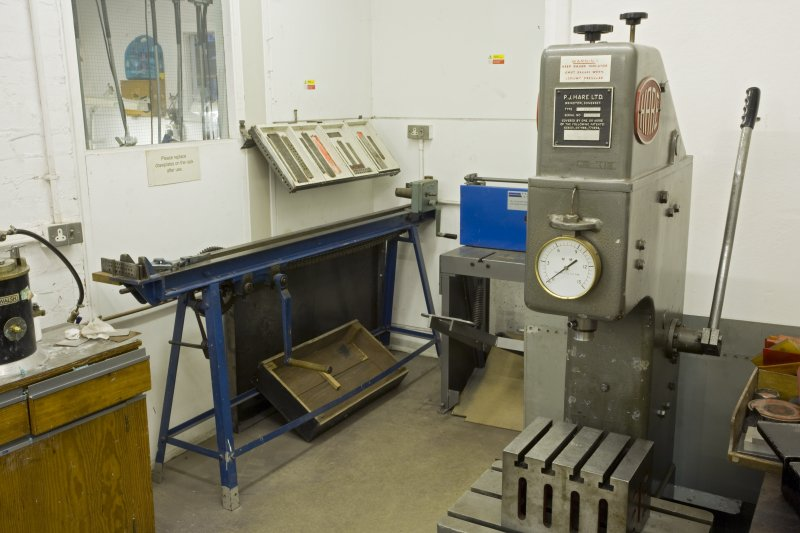 View of powertools in workshop of jewellery and silversmithing department within Newbery Tower