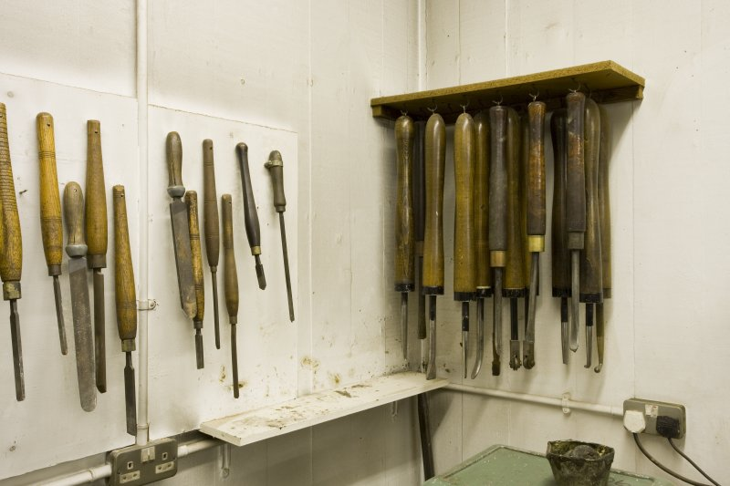 Detail of tool racks in workshop of jewellery and silversmithing department within Newbery Tower