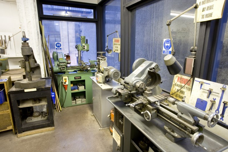 View of powertools in workshop of jewellery and silversmithing workshop within Newbery Tower