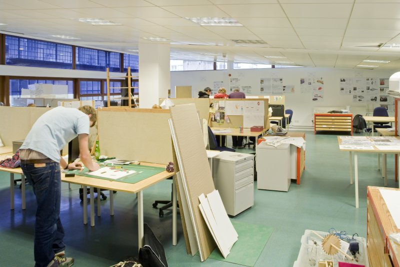 View of studio space in product design department within the Foulis Building