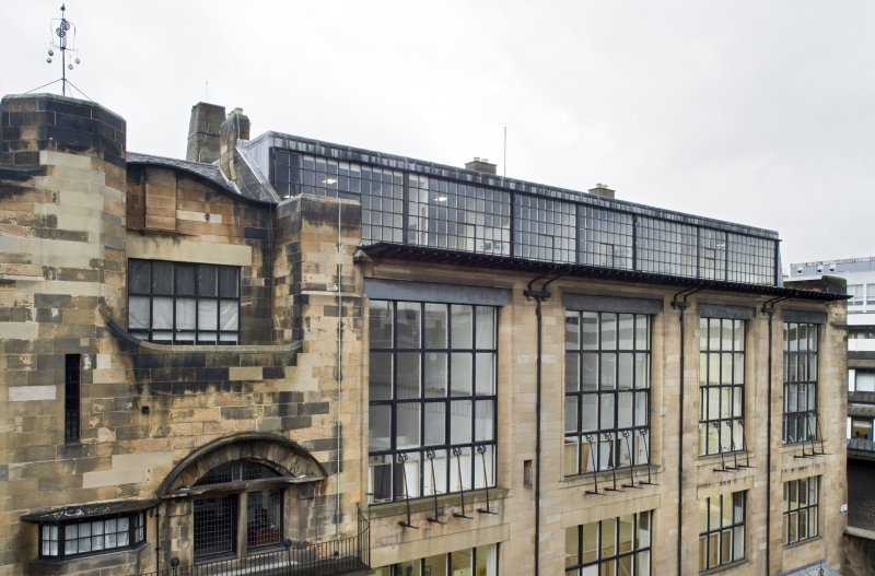 View along upper studio windows of the Mackintosh building north elevation, taken from the Foulis Building