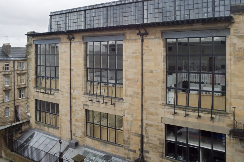 View along studio windows of the Mackintosh Building north elevation, taken from the Foulis Building