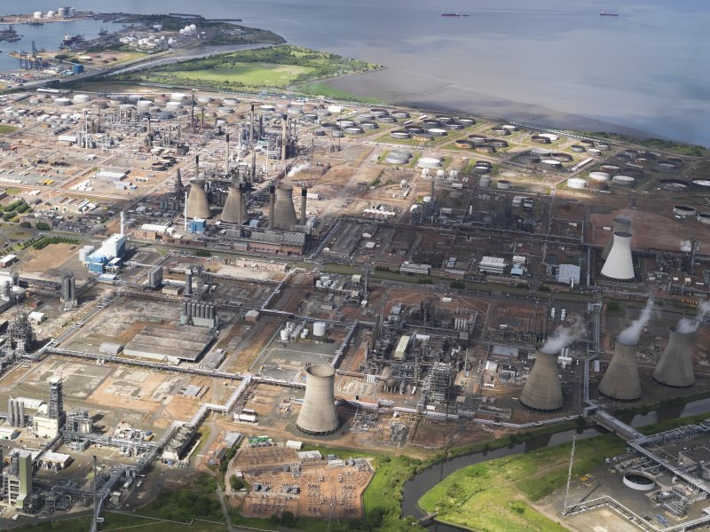 General oblique aerial view of Grangemouth oil refinery, taken from the S.