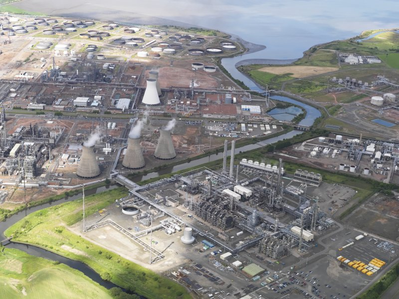 General oblique aerial view of Grangemouth oil refinery, taken from the SSE.