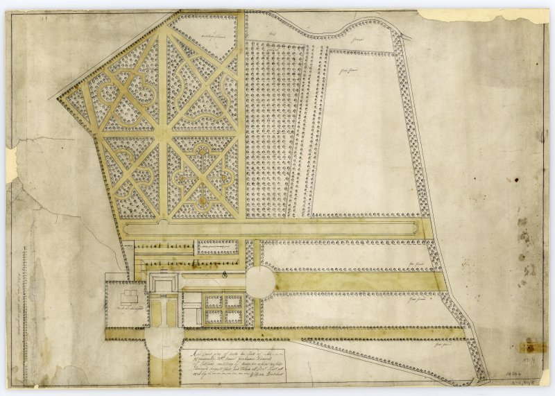 Drawing showing garden design for Airth Castle. Titled: 'Ane Exact Plan of Airth the Seat of the Honnourable Mr James Graham Admirall of Scotland...Surveyd August first & Drawn at Ednr Septr 10th 1721 by William Boutchart'