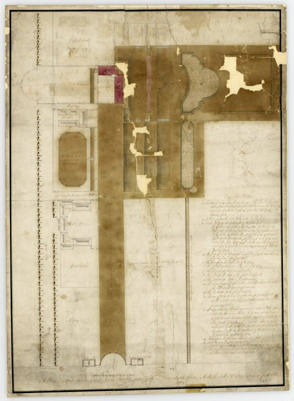 Garden layout of Airth Castle with explanation. Titled: 'A Plan of the West Avenue Garden Banks Terrasses pieces of Water and offices about the House of Airth  The Seat of Mr James Graham of Airth'.