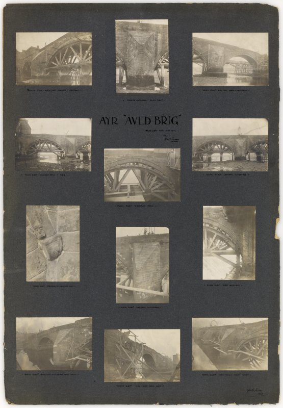 "Twelve photographs showing works on the bridge. Titled: 'Ayr ""Auld Brig"". Photographs taken Sep 1907 by John B Lawson''."