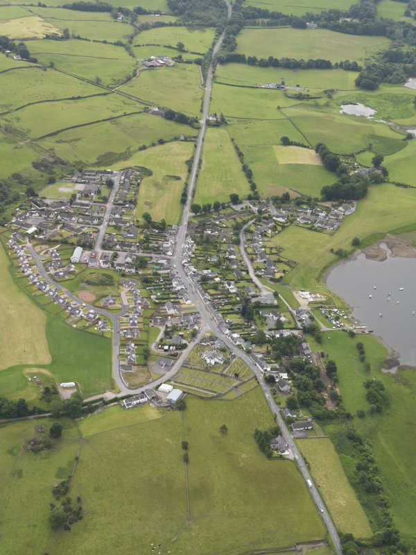 General oblique aerial view of Crossmichael Village, taken from the NNW.