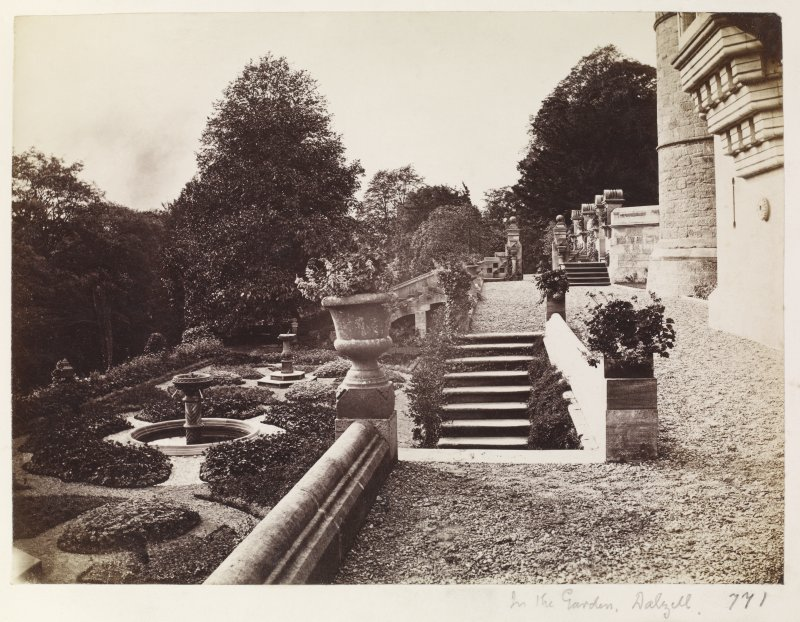 View of Dalzell House terrace from E. Titled: 'In the garden, Dalzell'. PHOTOGRAPH ALBUM No 146: THE ANNAN ALBUM