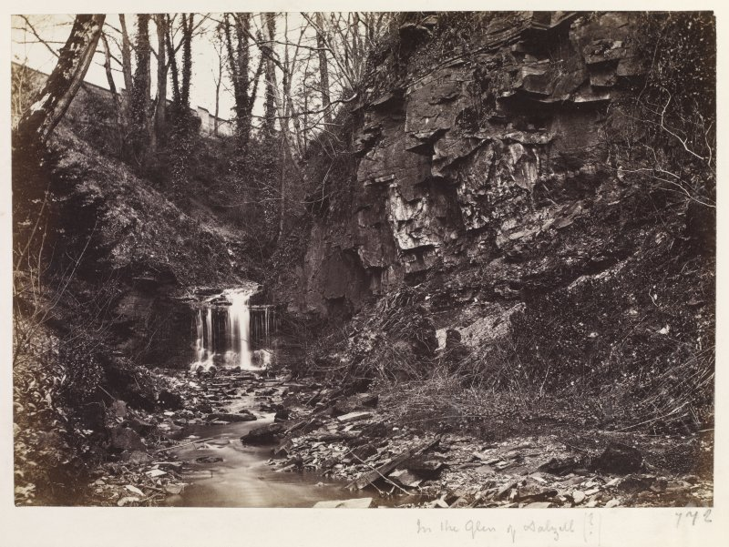 "Page 13/5.  View of gorge. Titled ""In the glen of Dalzell ?"" PHOTOGRAPH ALBUM No 146: THE ANNAN ALBUM"