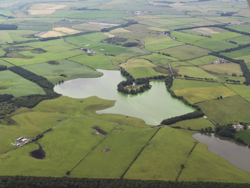 General oblique aerial view of Soulseat Loch with an algal bloom, taken from the NE.