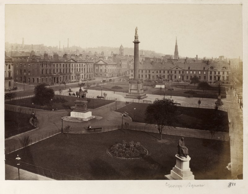 George Square Page 18/2 General view of George Square, Glasgow including Scott Monument. Titled  'George Square ' PHOTOGRAPH ALBUM 146: THE THOMAS ANNAN ALBUM