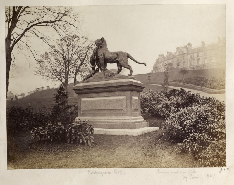 View of statue of lioness and her cubs. Titled: 'Kelvingrove Park, Lioness and her cubs by Cain, 1867. '. PHOTOGRAPH ALBUM NO.146. THE ANNAN ALBUM Page 18/6.