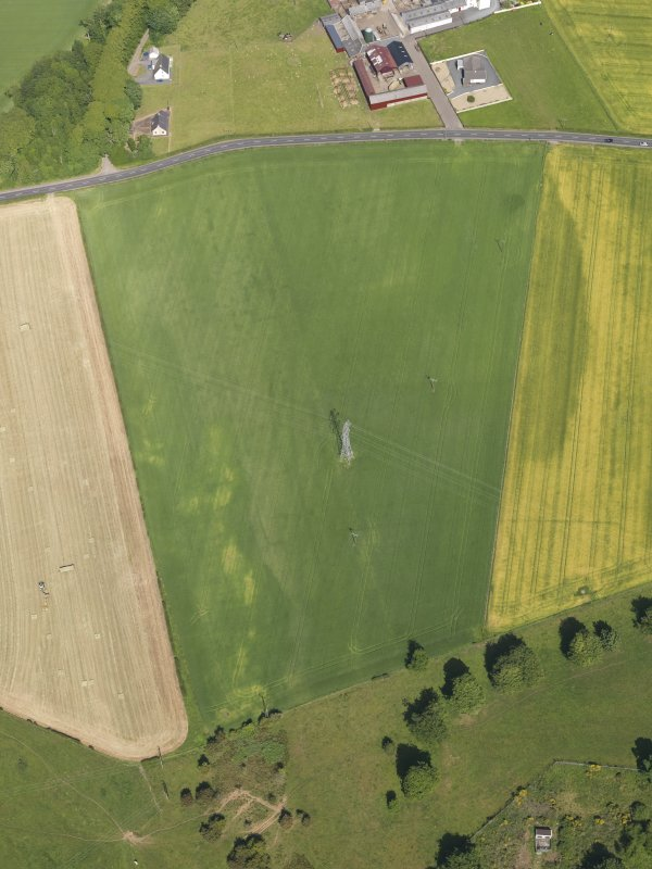 Oblique aerial view of the cropmarks of the cursus monument and pits at Drybridge, taken from the WSW.