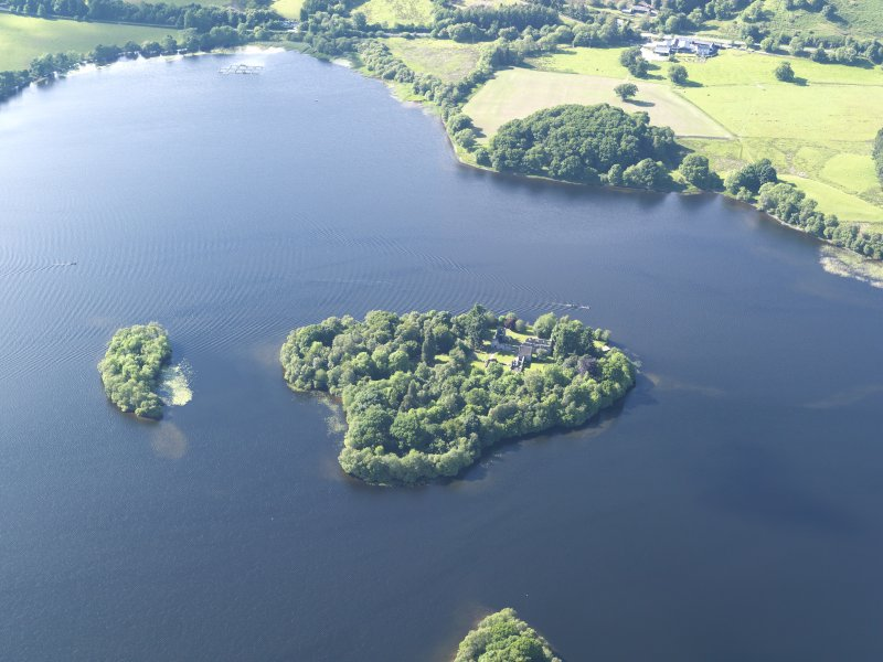General oblique aerial view of Ichmahome and Inch Talla in the Lake of Menteith, taken from the SSE.