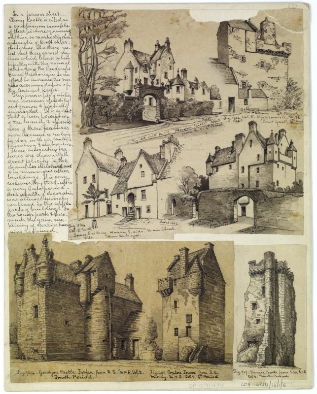 Perspective sketches and plans of Scottish castles and houses with accompanying historical notes.