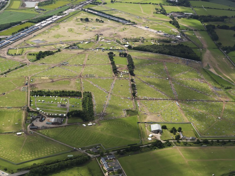 Oblique aerial view of the T in the Park campsite, looking to the WSW.
