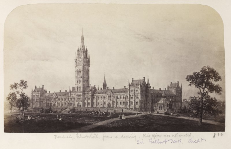 Page 19/1. Photographic copy of drawing showing unexecuted design for tower Titled: 'University, Gilmorehill, from a drawing.  This spire was not erected, Sir Gilbert Scott Archt.  816'. PHOTOGRAPH ALBUM NO 146: THE THOMAS ANNAN ALBUM