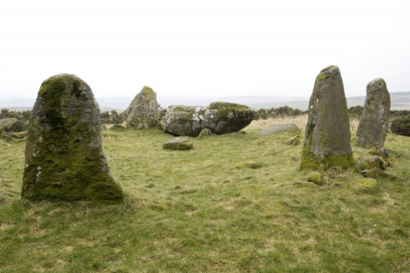Recumbent, flanker and ring stones, view from NW o