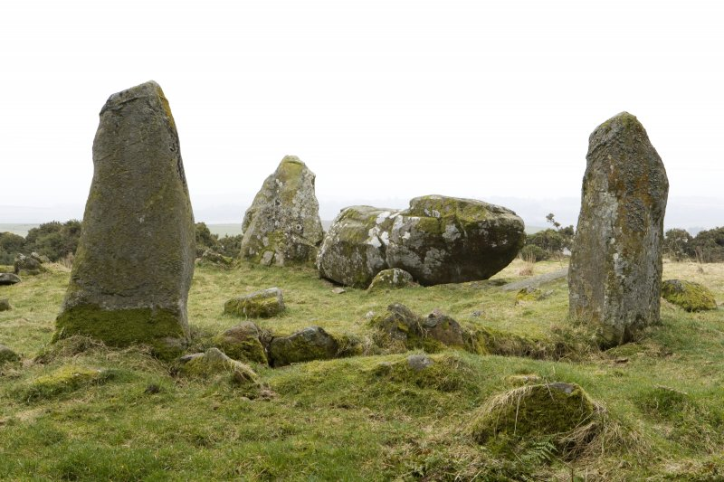 Recumbent, flanker and ring stones, view from NW