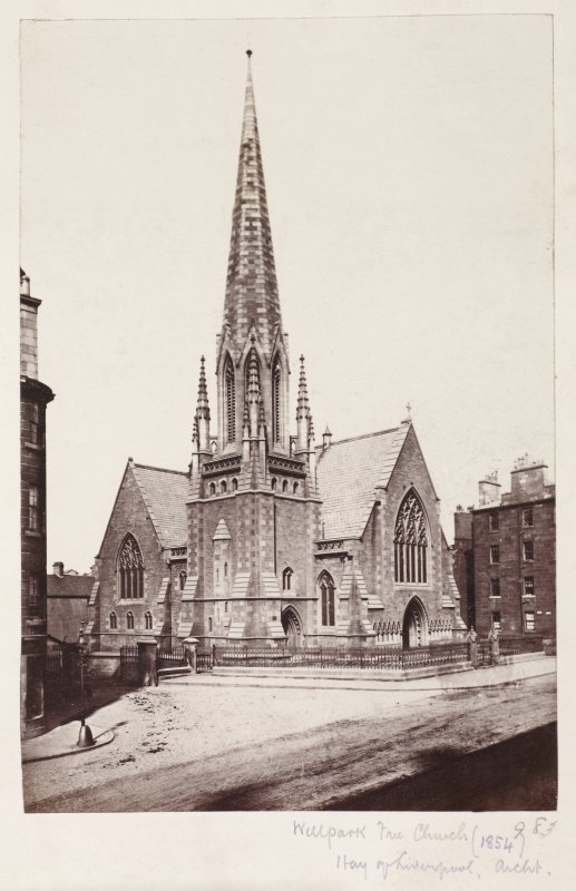 Page 26v/4Glasgow, 165 Duke Street, Well Park Free Church. General view of church from South-West showing earlier Gothic style tower. Titled 'Wellpark Free Church, 983, (1854) Hay of Liverpool. archit ...