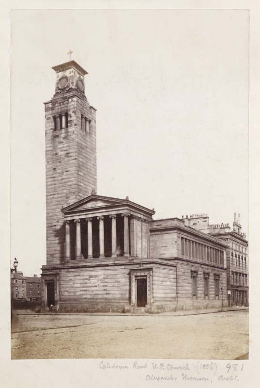 Page 26V/6	General view of Caledonia Road Church, 1 Caledonia Road, Glasgow from South Titled: 'Caledonia Road U.P. Church (1856)  981  Alexander Thomson, Archt.' PHOTOGRAPH ALBUM NO 146: THE THOMAS ANNAN ALBUM