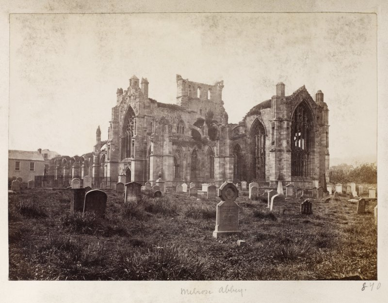Page 27/2. View of Melrose Abbey from SE. Titled 'Melrose Abbey.' PHOTOGRAPH ALBUM No 146: THE THOMAS ANNAN ALBUM